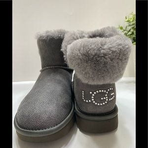 NEW UGG Classic Bling Mini Swarovski Logo Women's Boots Size 6 Gray